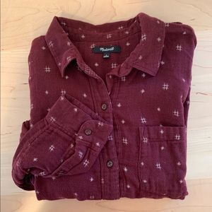 Madewell Maroon + Stars Flannel Button Up - L